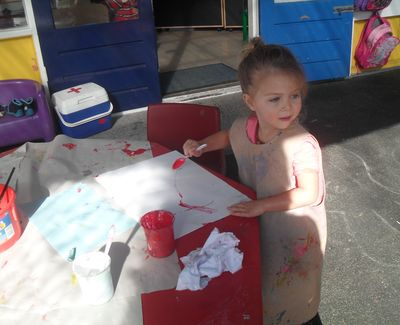 Exploration of colour and paint; Keeley