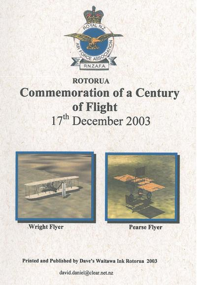 Front Cover, Rotorua Commemoration of a century of flight