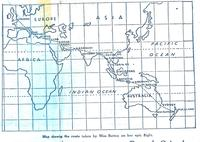 Map showing Jean Batten route NZ to England.
