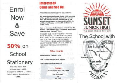 Sunset Junior High 1999 Leaflet