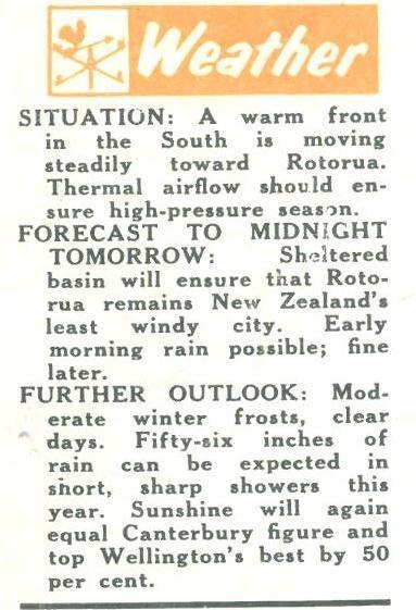 Weather report on Rotorua