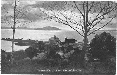 Postcard of Lake Rotorua from the Soldiers Hospital.