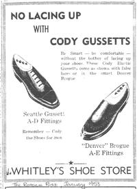 Whitely's Shoe Store Advert from 1953.