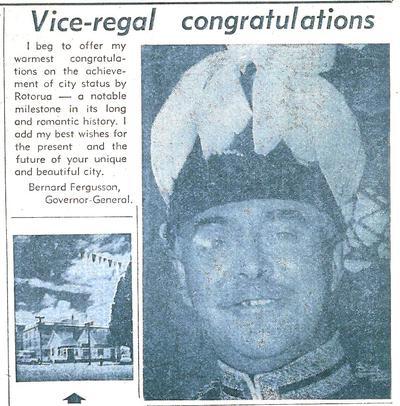 Vice Regal Congratulations from Governor-General Bernard Fergusson