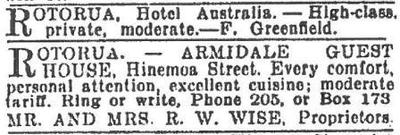 Advert for Hotel Australia and Armidale 1938