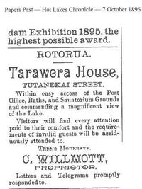 Advert from Hot Lakes Chronicle 7 October 1896