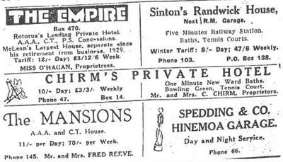 Advert from New Zealand Herald 15 May 1931 -- Hotels