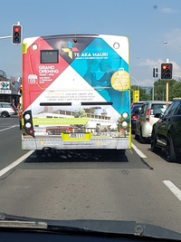 Advertising via bus for new Library.